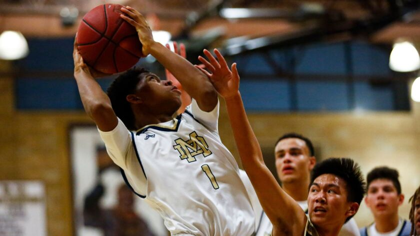 Mater Dei Catholic's Jesse Campbell looks for a shot in the Crusaders' 68-53 win over Olympian.
