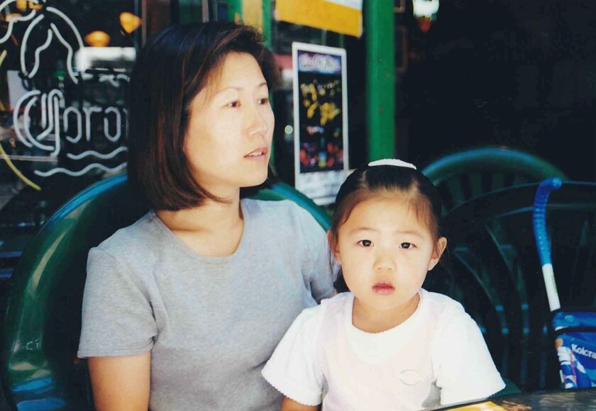 Hannah Kim and her mom, Eun-Ju, in Washington state in 2000.