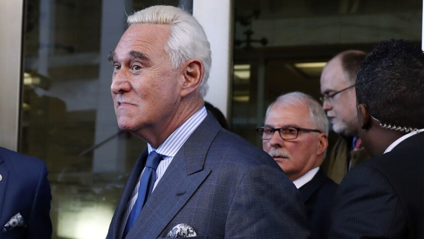 Roger Stone, a former campaign advisor for President Trump, leaves federal court in Washington last month.