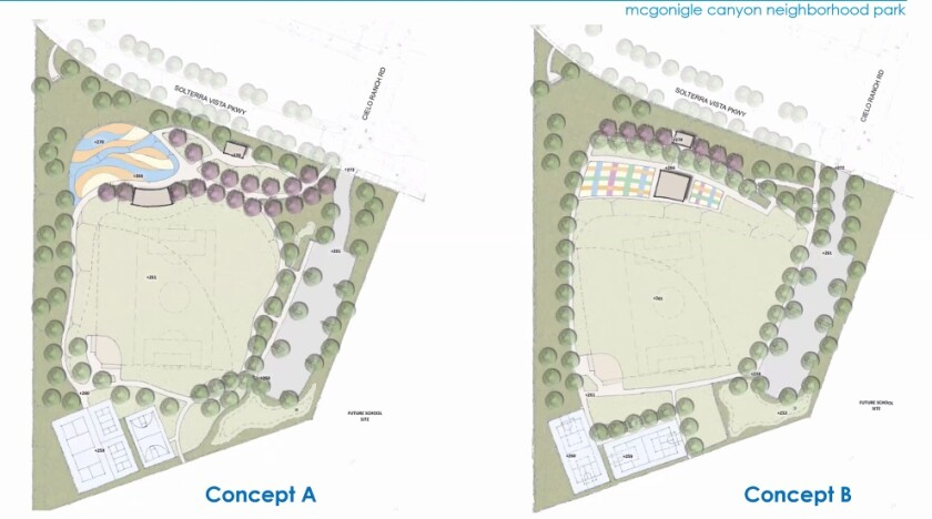 The two proposed layouts for McGonigle Canyon Neighborhood Park in Pacific Highlands Ranch.