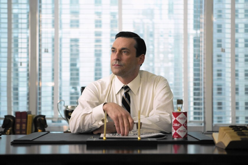 """From shot to shot and scene to scene, """"Mad Man"""" has been a tightly controlled, fine-tuned work -- it's TV without a hair out of place, even when someone's hair is (perfectly) out of place. Jon Hamm as Don Draper in """"Mad Men."""""""