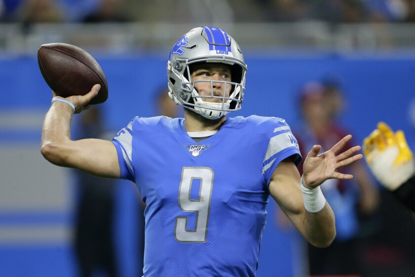 Detroit Lions quarterback Matthew Stafford (9) throws in the first half of an NFL football game against the Los Angeles Chargers in Detroit, Sunday, Sept. 15, 2019. (AP Photo/Duane Burleson)