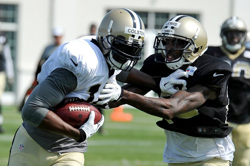 New Orleans Saints wide receiver Marques Colston (12) runs the ball with New Orleans Saints cornerback Keenan Lewis (28) defending the play during NFL football training camp in White Sulphur Springs, W.Va., Thursday, July 31, 2014. (AP Photo/Chris Tilley)