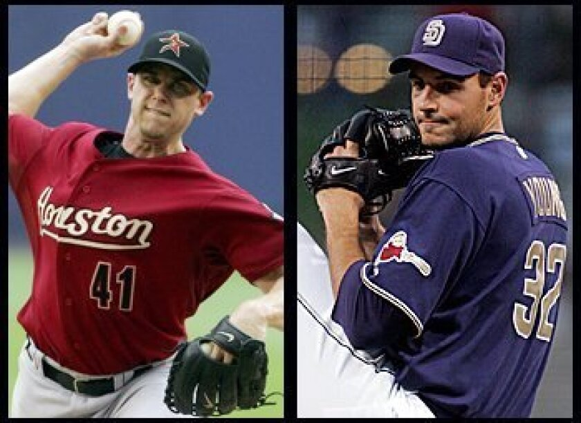 Tonight's starting pitchers are Brandon Backe for the Astros (left) and Chris Young for the Padres.