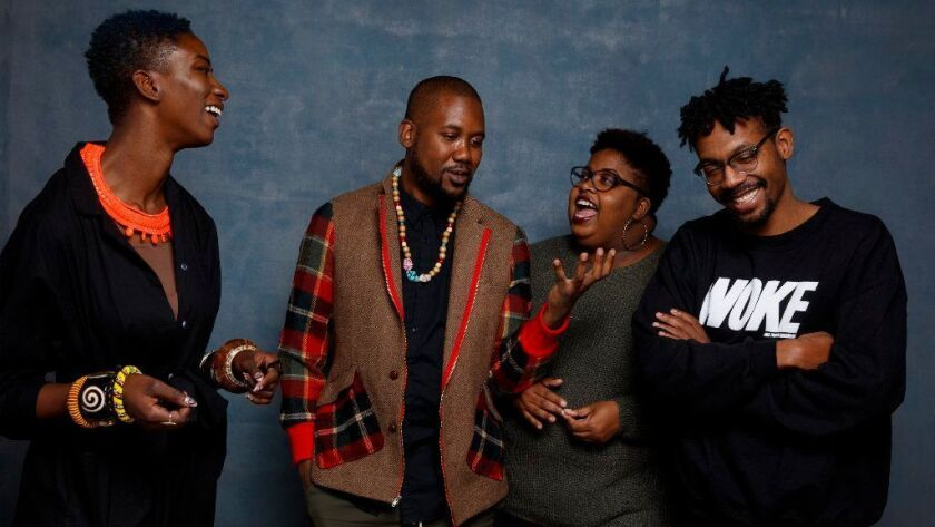 "Co-director Sabbah Folyan, Kayla Reed, Tef Poe and co-director Damon Davis, from the documentary film, ""Whose Streets,"" are photographed in the L.A. Times photo studio during the Sundance Film Festival."