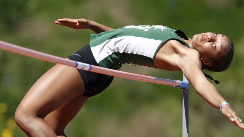 Coronado's Alysah Hickey set a school record and San Diego Section yearly best of 5-101/2 in the high jump at the first University City Track Classic on March 16, 2019.