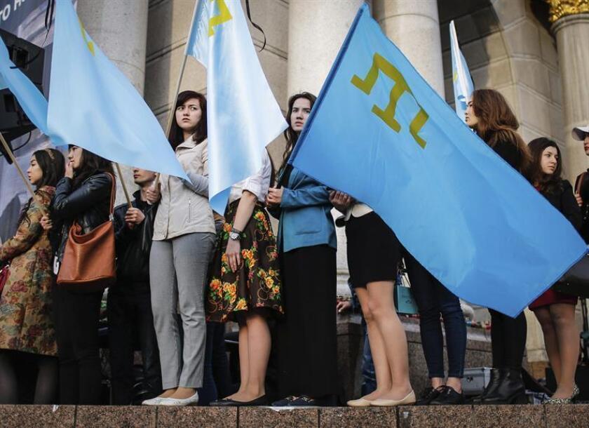 """El Departamento de Estado insistió hoy en que """"Crimea es Ucrania"""" en un comunicado en el que contestó a los """"falsos reclamos"""" sobre la soberanía de esa península que pronunció durante un acto de campaña electoral en ese territorio el presidente ruso, Vladímir Putin. EFE/EPA/ARCHIVO"""