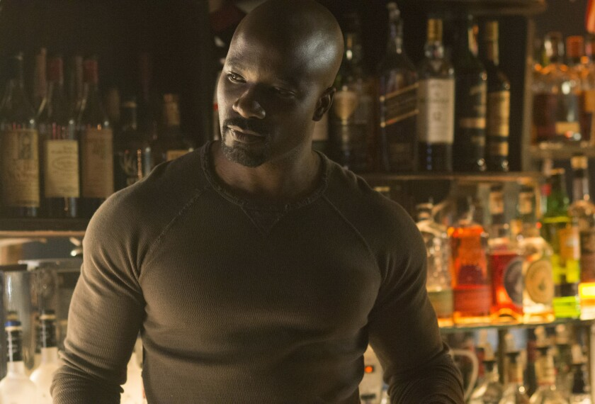 "Mike Colter as Luke Cage in ""Jessica Jones."""