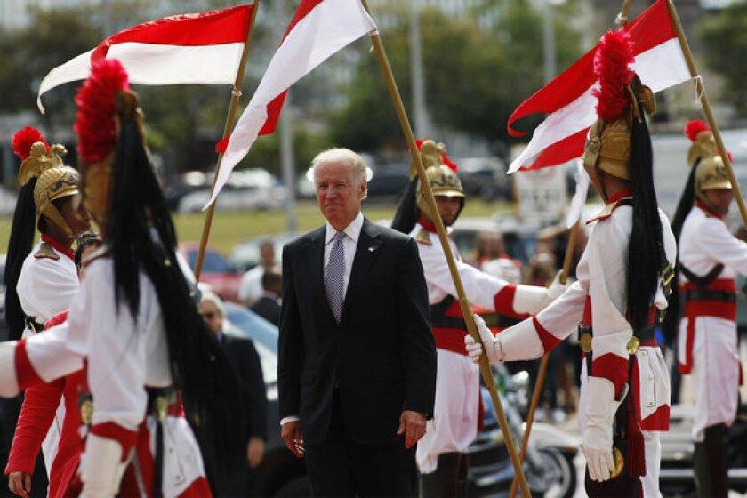 Vice President Joe Biden arrives at the Itamaraty Palace in Brasilia on Friday to meet with Brazilian Vice President Michel Temer.