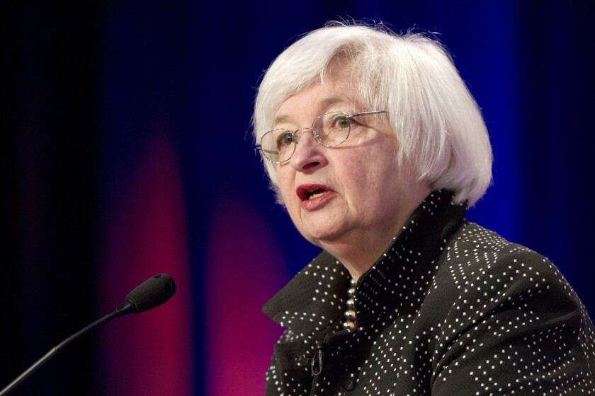 Federal Reserve Chairwoman Janet L. Yellen speaks in May at the Institute for New Economic Thinking Conference on Finance and Security at the International Monetary Fund in Washington.