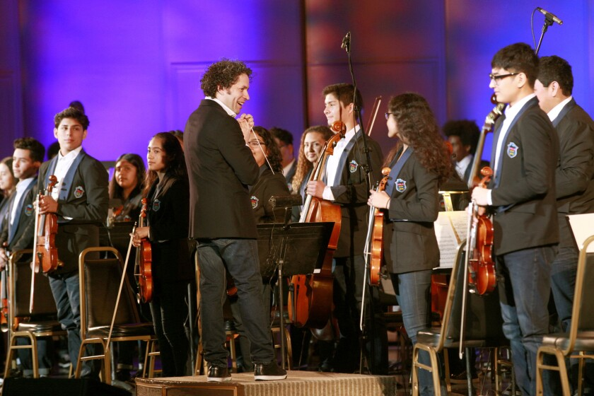 Gustavo Dudamel and Youth Orchestra Los Angeles onstage in Oakland for YOLA's 10th anniversary tour.