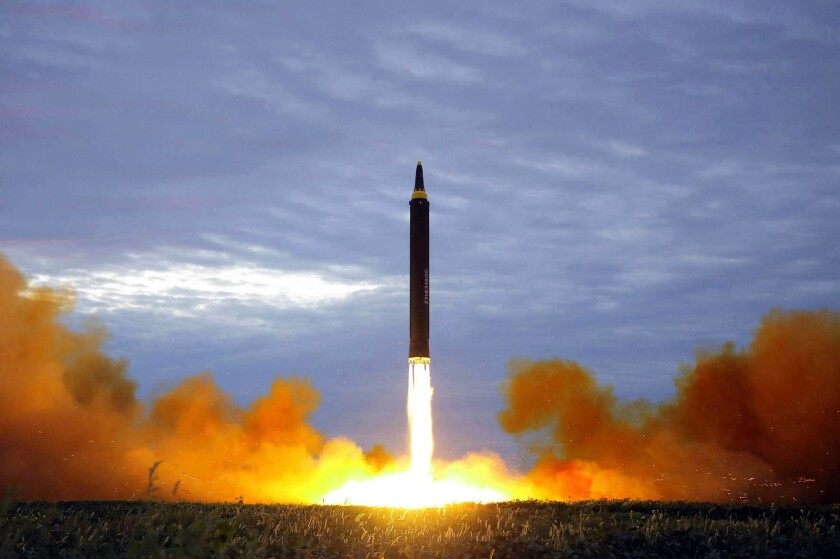 FILE - This Aug. 29, 2017, file photo provided by the North Korean government shows what was said to be the test launch of a Hwasong-12 intermediate range missile in Pyongyang, North Korea. (Korean Central News Agency/Korea News Service via AP, File)
