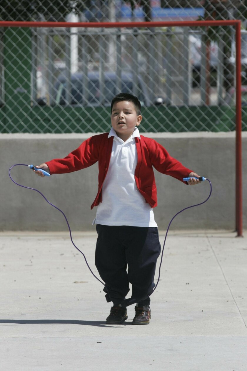 Second-grader Angel Muñoz Zárate won his class' jump-rope competition at Moctezuma Xocoyotzin Elementary School.