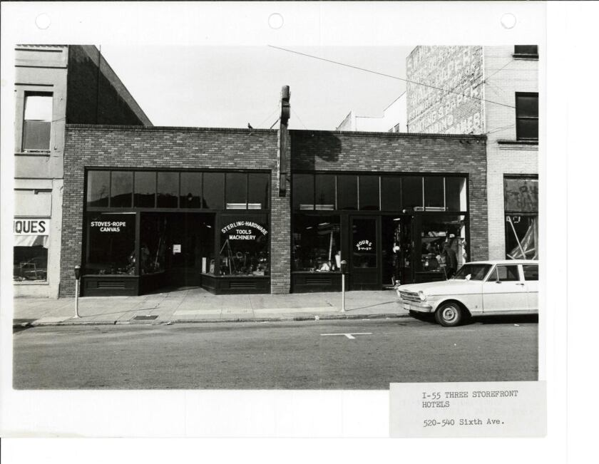 The Sterling Hardware store once occupied the building where Sparks Gallery now stands in downtown San Diego. (Courtesy photo)