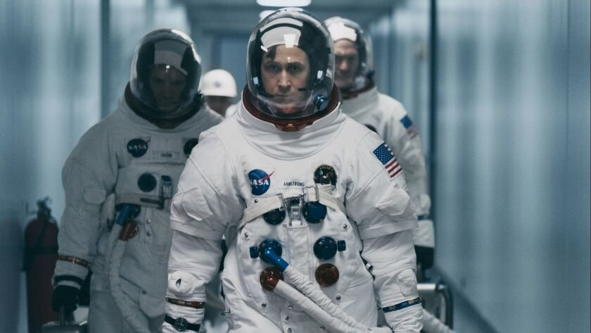 """This image released by Universal Pictures shows Ryan Gosling in a scene from """"First Man."""" Damien Cha"""