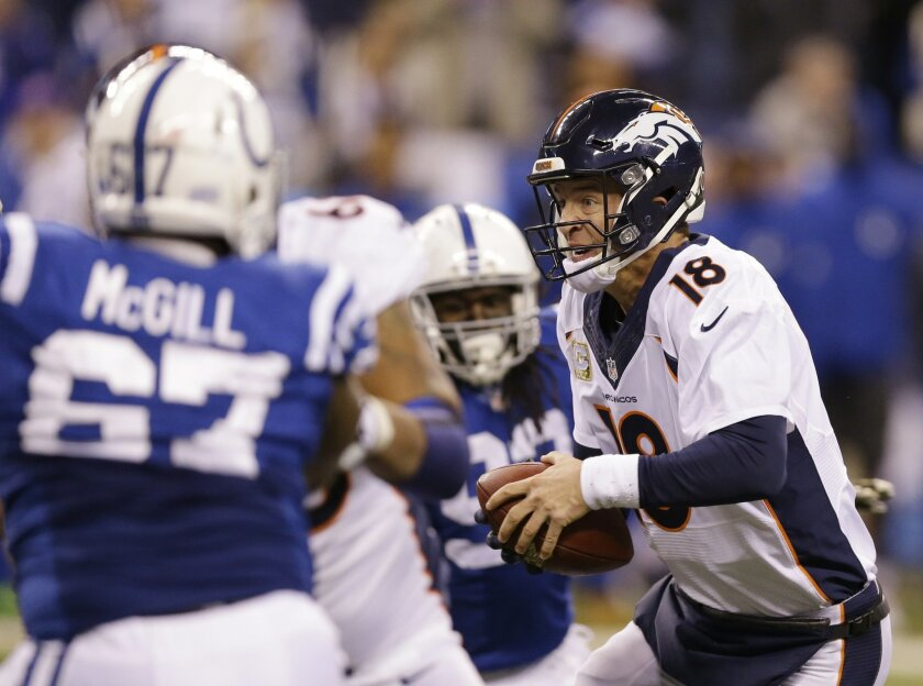 Denver Broncos quarterback Peyton Manning (18) is pressured by the Indianapolis Colts defense during the second half of an NFL football game Sunday, Nov. 8, 2015, Indianapolis. (AP Photo/Michael Conroy)