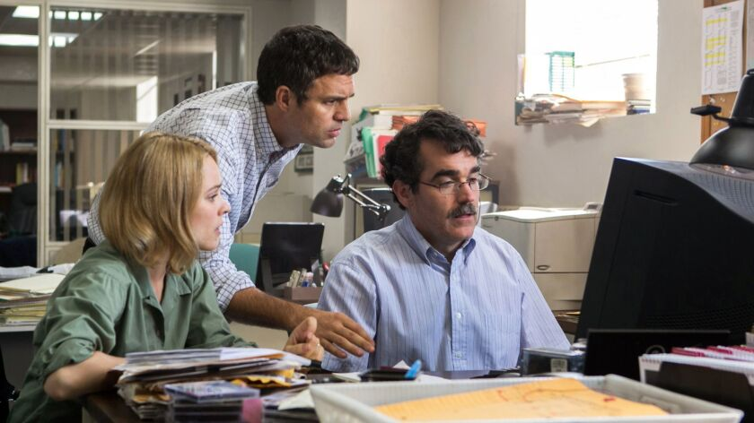 "Rachel McAdams, Mark Ruffalo and Brian d'Arcy James in ""Spotlight."" The film's studio, Open Road, officially has a new owner."