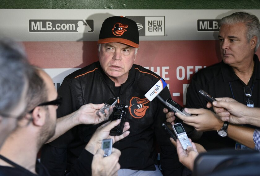 FILE - In this Sept. 23, 2015, file photo, Baltimore Orioles manager Buck Showalter talks to reporters before an interleague baseball game against the Washington Nationals, in Washington. After a productive offseason where they retained three of their mainstays, the Baltimore Orioles began spring t
