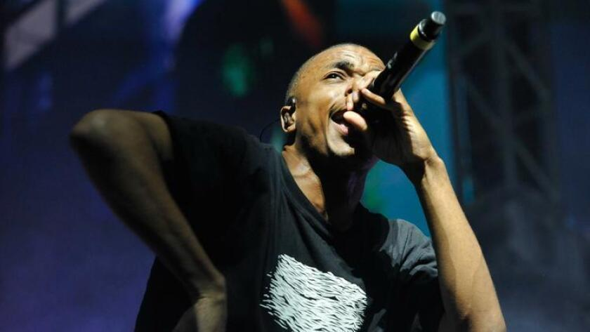 Rapper Vince Staples perform onstage during day 2 of the 2016 Coachella Valley Music & Arts Festival Weekend 1 at the Empire Polo Club on April 16, 2016 in Indio. (Michael Tullberg / Getty Images for Coachella)