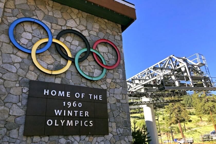 Sign marking 1960 Winter Olympics at Squaw Valley Ski Resort