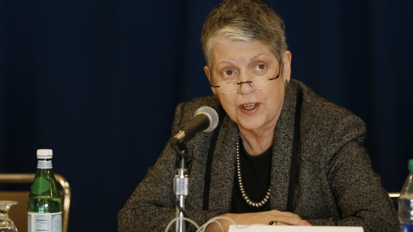 UC President Janet Napolitano speaks before the UC Board of Regents during a meeting at UCLA's DeNeve Plaza.