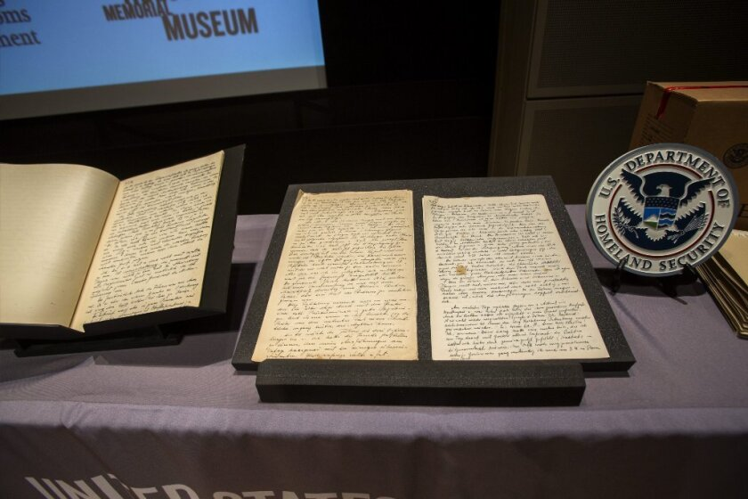 Pages from the diaries of Alfred Rosenberg on display at the U.S. Holocaust Memorial Museum in Washington.