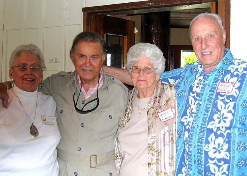 Mary Ann 'Tootie' Barber Hatch, Cliff Robertson, Myrtle Summers and Arnold 'Polecat' Palenske at a 2006 reunion. Courtesy: Arnold 'Polecat' Palenske