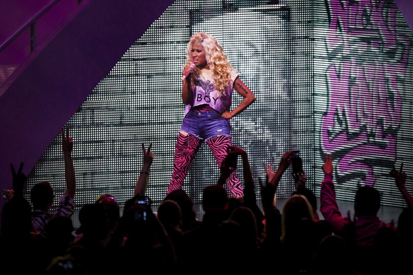 Nicki Minaj performs at the Nokia Theatre in 2012.