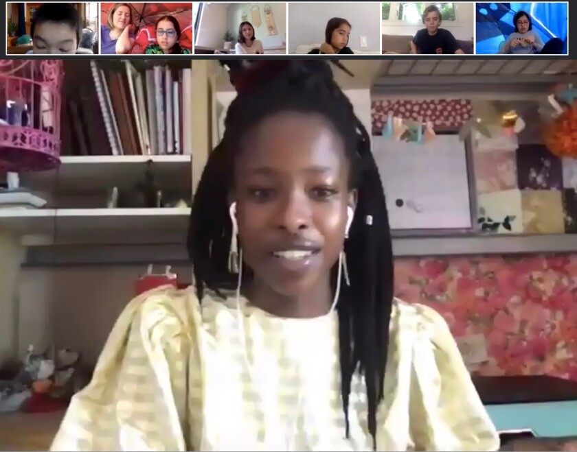 Youth poet laureate Amanda Gorman shares poems with eighth-graders at The Children's School during a June 11 online address.