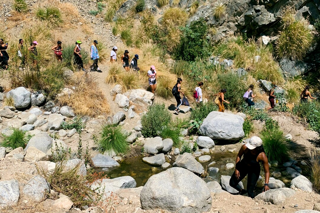 Hike Clerb participants on the trail at Eaton Canyon Falls.