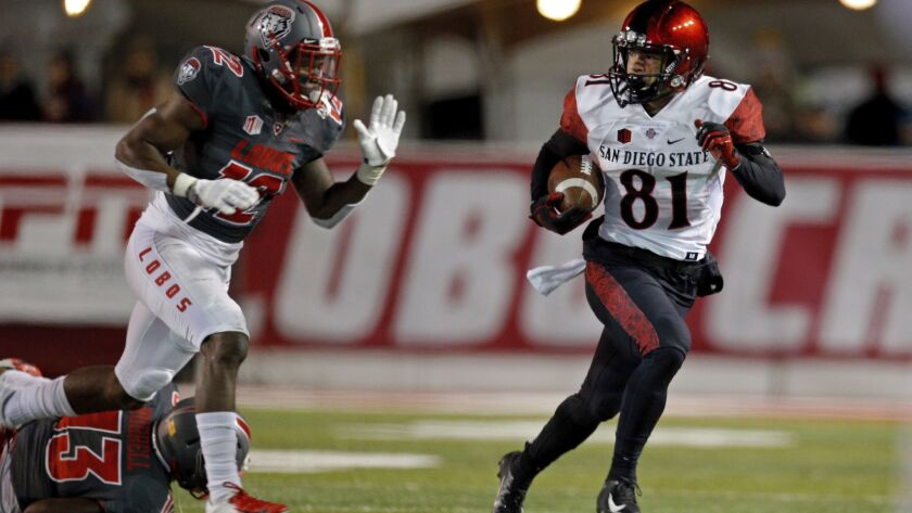 San Diego State wide receiver Ethan Dedeaux (81) looks back at New Mexico safety Patrick Peek (12) d