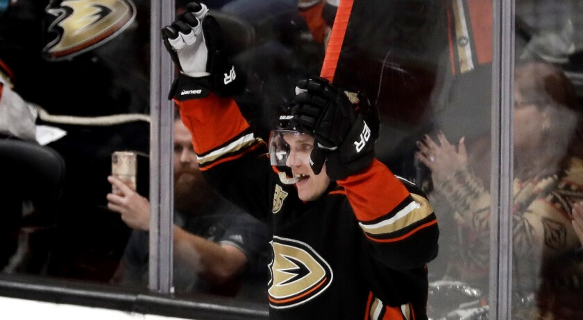 Ducks right wing Jakob Silfverberg celebrates after scoring what proved to be the game-winning goal against the Panthers during the third period Sunday.