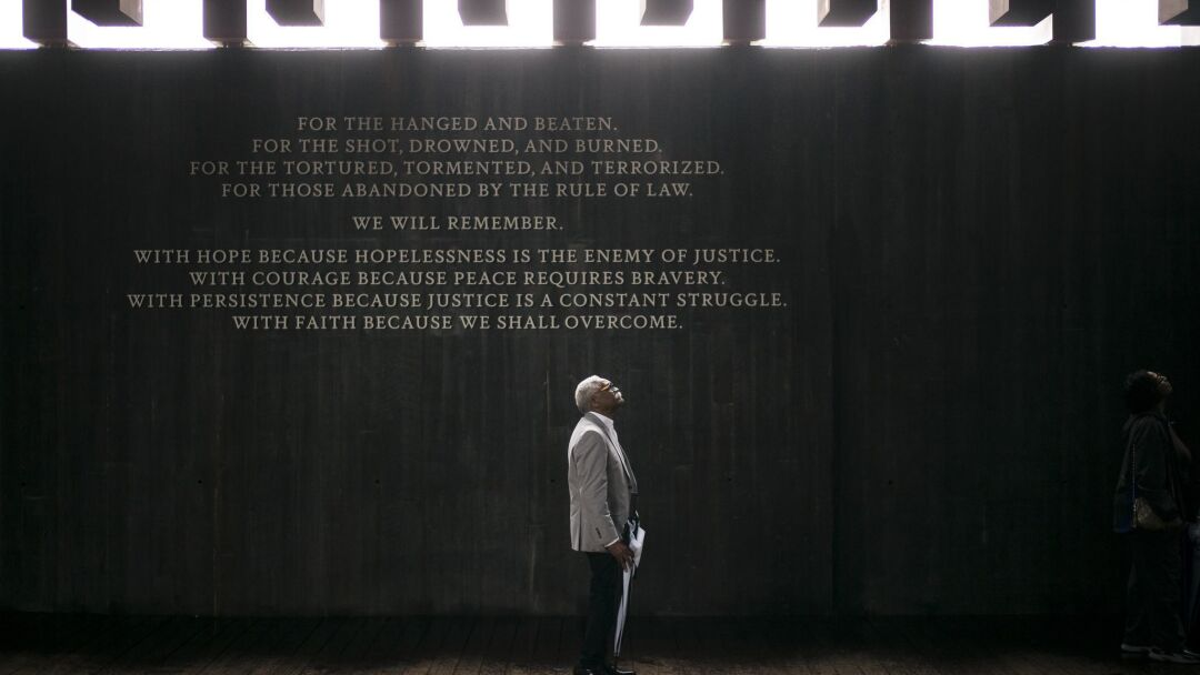 Ed Sykes, 77, visits the National Memorial for Peace and Justice in 2018.