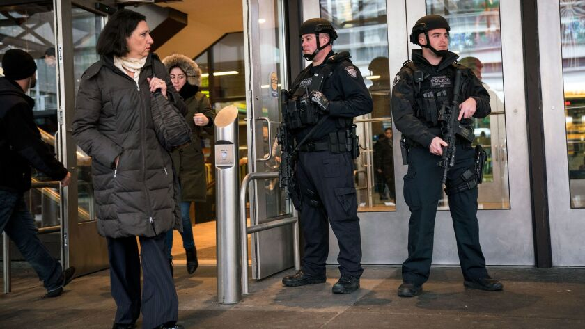 Security Increased Around New York City Day After Failed Terrorism Attempt During City's Monday Morning Rush Hour