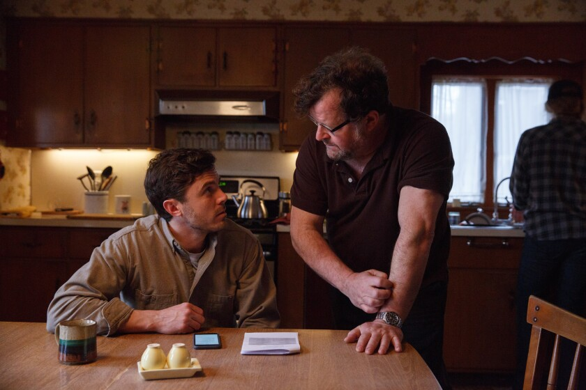 Casey Affleck, left, and writer-director Kenneth Lonergan on the set of 'Manchester by the Sea.'