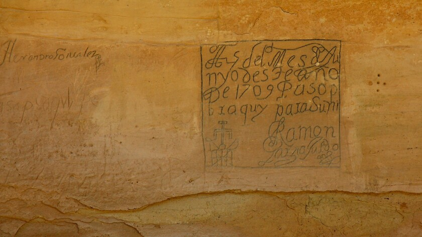 El Morro National Monument, in the outback of New Mexico, is inscribed with names and messages from several centuries of desert travelers.