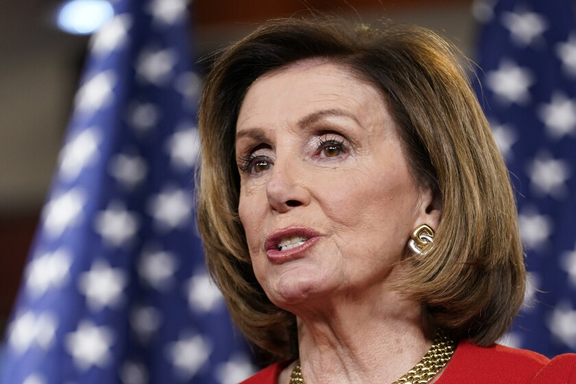 House Speaker Nancy Pelosi speaks during a news conference