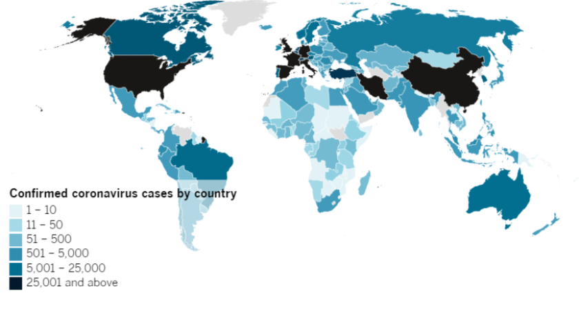 Confirmed COVID-19 cases by country as of 5:30 p.m. Friday, April 3, 2020.