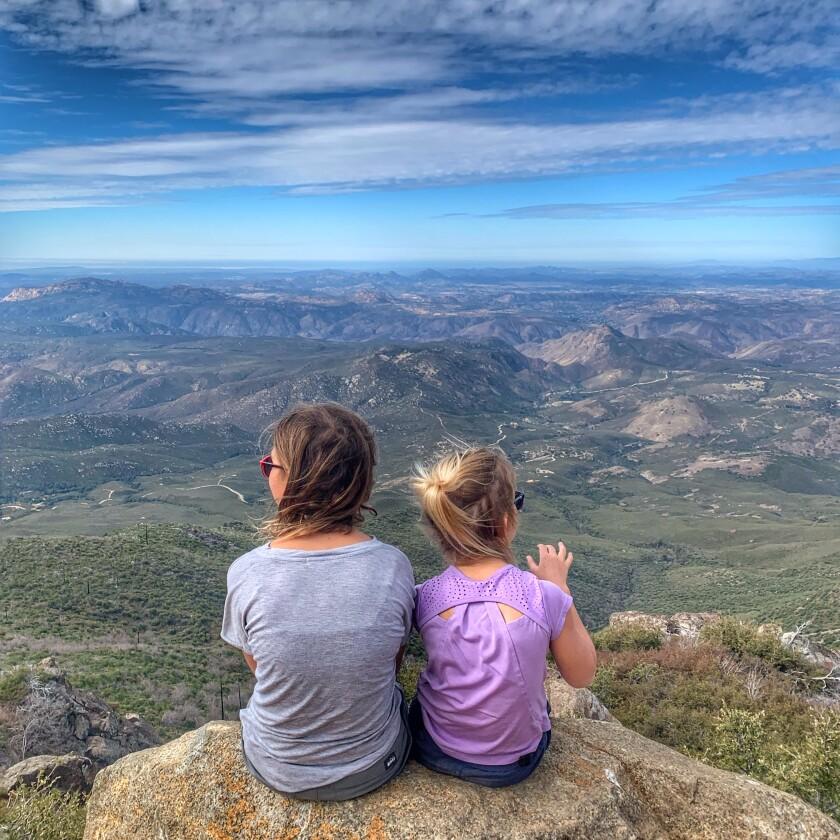 Maya and Sahara Wells atop Cuyamaca Peak.