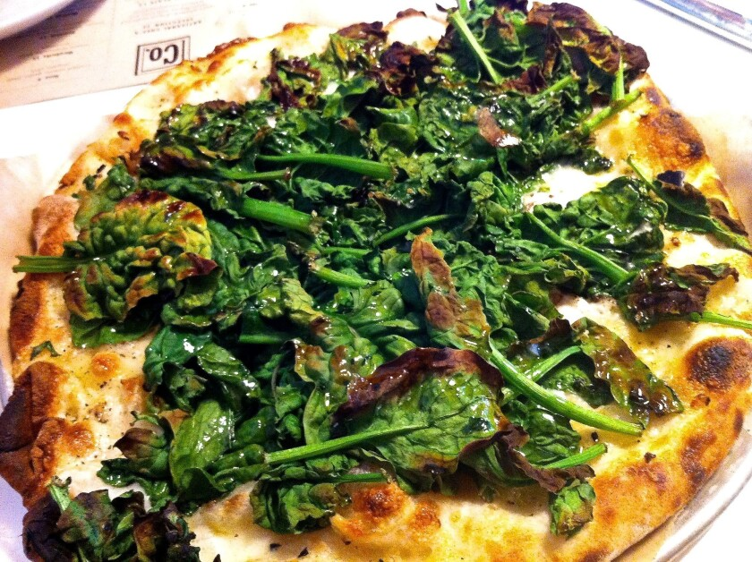 The Popeye pie from Jim Lahey's Co. (pronounced Company) in New York's Chelsea area.