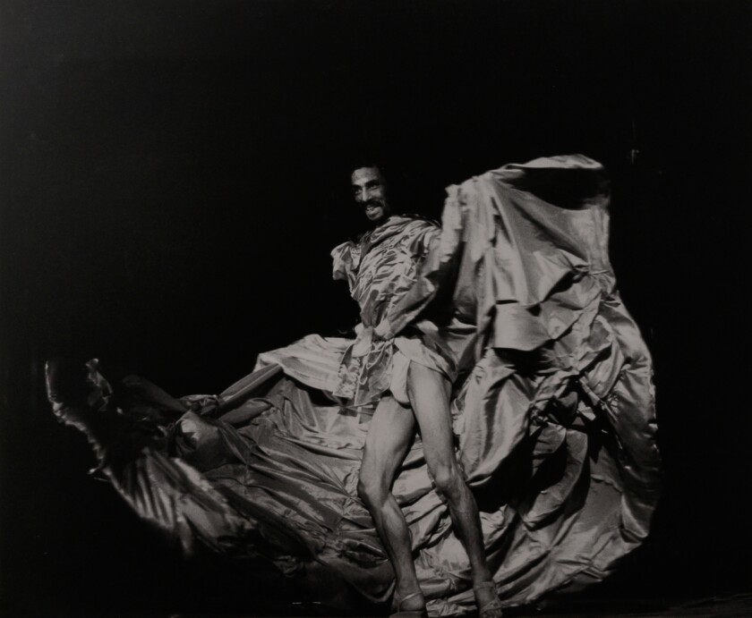 "Tatsumi Hijikata performs ""Revolt of the Body (Red Dress),"" 1968, in a photo on view at Nonaka-Hill gallery."
