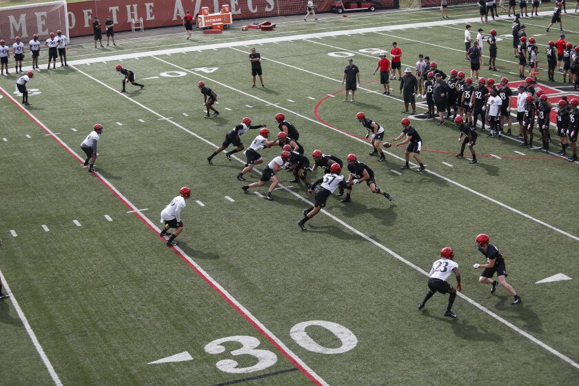 SDSU players line up for a play during short scrimmages at their first practice of the season.