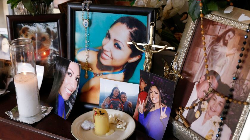 A memorial in the Duran family home in Arleta shows Sandra Duran, 42, who was killed Feb. 19 in North Hills.