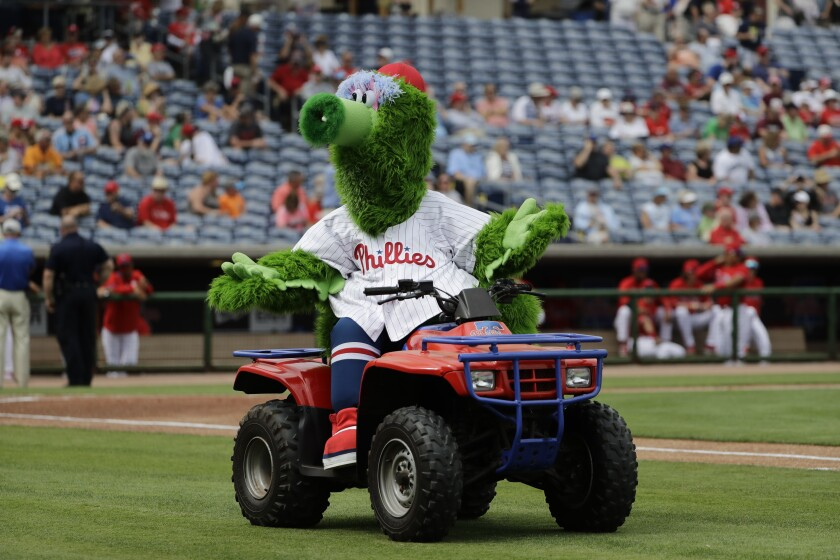 The Phillie Phanatic mascot performs before a spring training game Feb. 25.