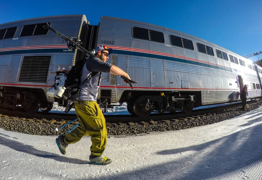 It's a two-hour train ride from Denver to Winter Park Resort on the ski train.