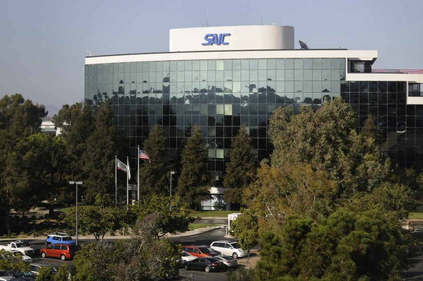 SAIC's San Diego offices on Campus Point Drive in University City serve as the corporate headquarters for the defense and government contractor. <em> &#8201; David Brooks / Union-Tribune</em>
