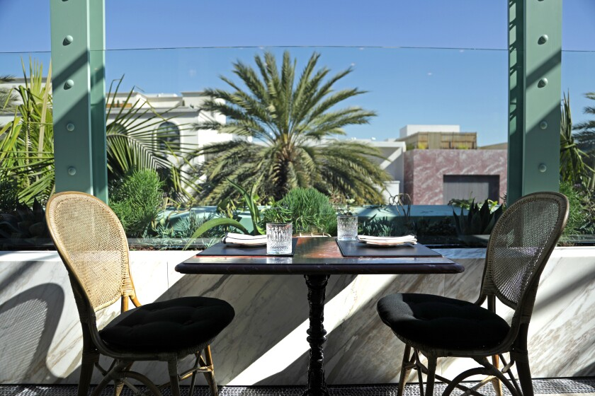 The terrace of Gucci Osteria da Massimo Bottura in Beverly Hills.