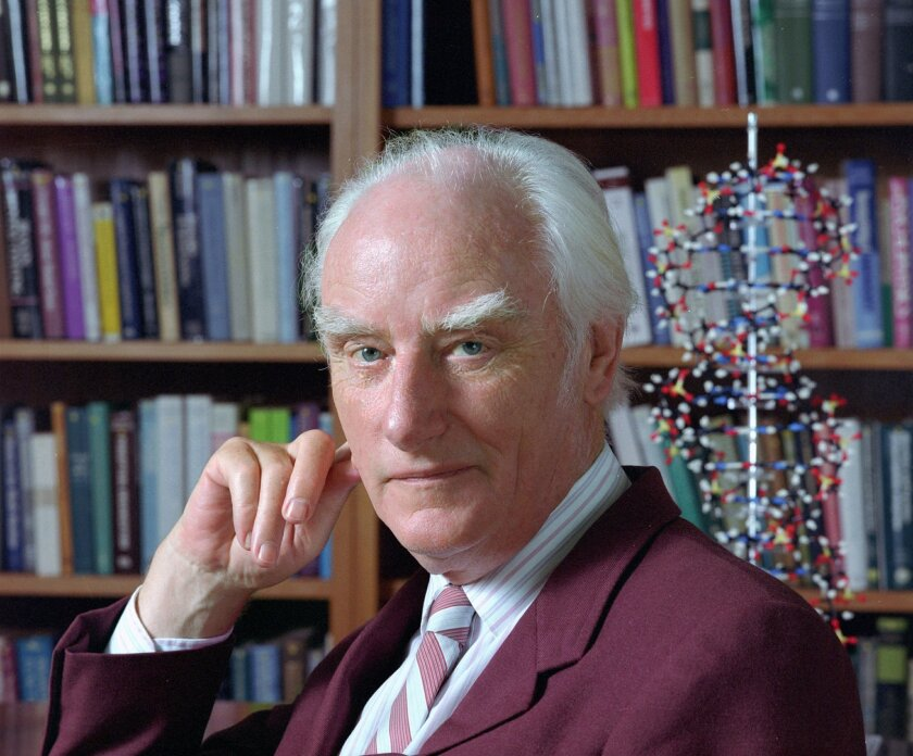 Francis Crick shared the 1962 Nobel Prize in physiology or medicine for helping to discover the structure of DNA.