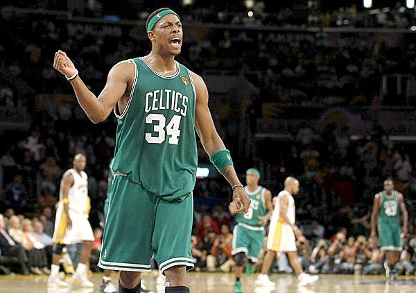 Forward Paul Pierce begins to celebrate after the Celtics defeated the Lakers, 103-94, in Game 2 of the NBA Finals on Sunday at Staples Center.
