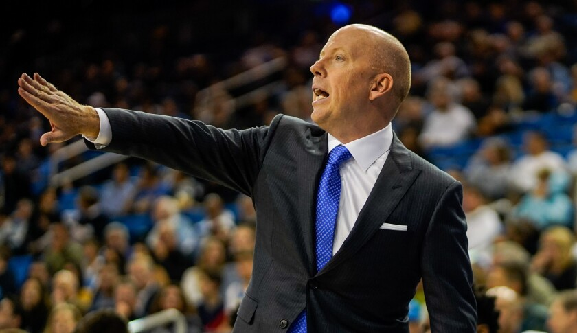 UCLA coach Mick Cronin won his first game with the Bruins, 69-65, over Long Beach State on Wednesday night at Pauley Pavilion.